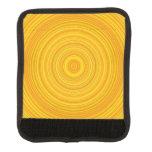 [ Thumbnail: Yellow & Orange Ring/Circle Pattern Luggage Handle Wrap ]