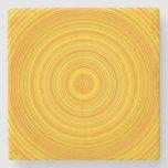 [ Thumbnail: Yellow & Orange Ring/Circle Pattern Coaster ]
