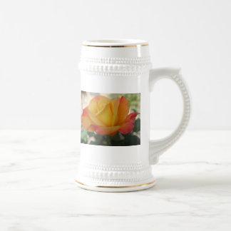 Yellow Orange Rose Stein Mug
