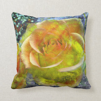 "yellow orange Rose Throw Pillow 20"" x 20"""