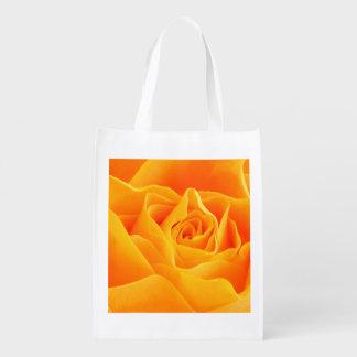 Yellow Orange Rose Reusable Grocery Bags