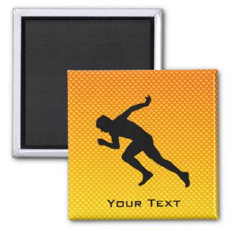 Yellow Orange Running 2 Inch Square Magnet