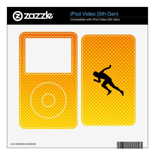 Yellow Orange Running iPod Video Decals