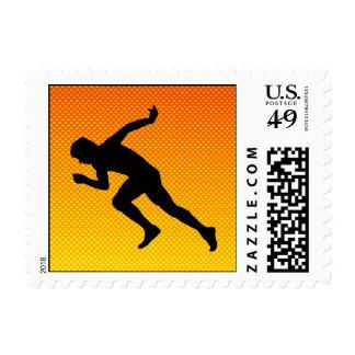 Yellow Orange Running Postage Stamps