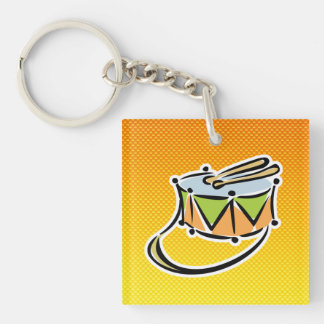 Yellow Orange Snare Drum Double-Sided Square Acrylic Keychain