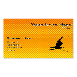 Yellow Orange Snow Skiing Double-Sided Standard Business Cards (Pack Of 100)
