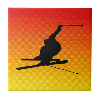 Yellow Orange Snow Skiing Ceramic Tile
