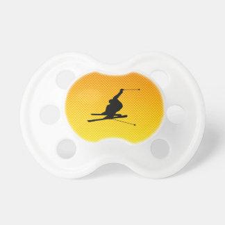 Yellow Orange Snow Skiing Baby Pacifier