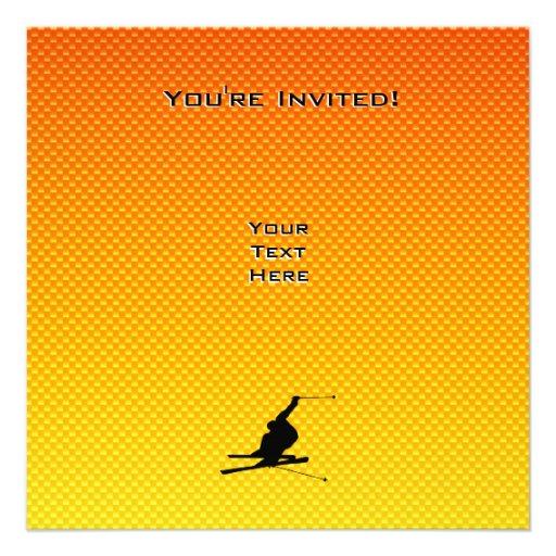 Yellow Orange Snow Skiing Personalized Invitation