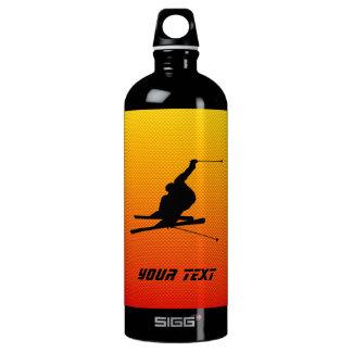 Yellow Orange Snow Skiing Water Bottle
