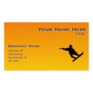Yellow Orange Snowboarding Business Card