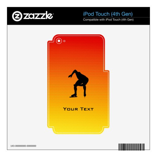 Yellow Orange Speed Skater iPod Touch 4G Decal