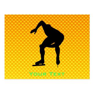 Yellow Orange Speed Skater Postcard