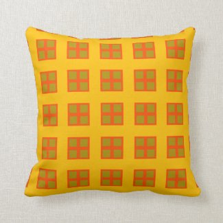 Yellow, Orange Squares Throw Pillow