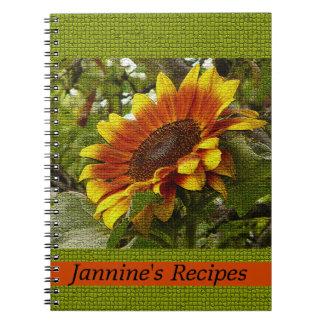 Yellow Orange Sunflower on Green Anything Notebook