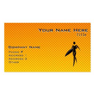 Yellow Orange Surfing Girl Business Card