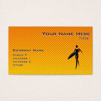 Yellow Orange Surfing Girl Business Card