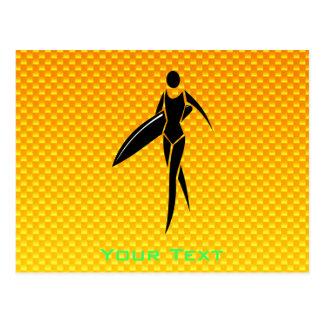 Yellow Orange Surfing Girl Postcard