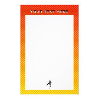 Yellow Orange Surfing Girl Stationery Paper