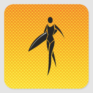 Yellow Orange Surfing Girl Sticker