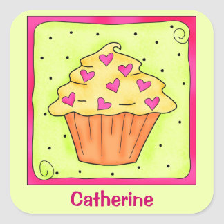 Yellow Orange Sweet Heart Art Cupcake Personalized Square Sticker