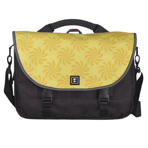 Yellow Orange Swirl; Spring Swirls Laptop Messenger Bag