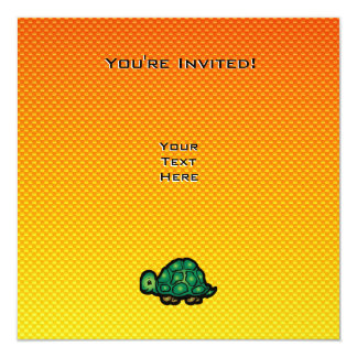 "Yellow Orange Turtle 5.25"" Square Invitation Card"