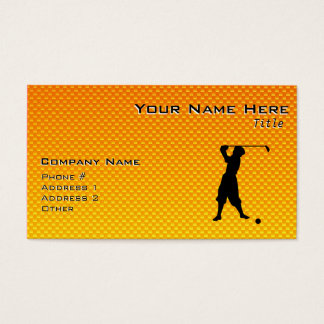 Yellow Orange Vintage Golfer Business Card