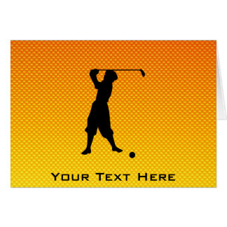 Yellow Orange Vintage Golfer Greeting Card
