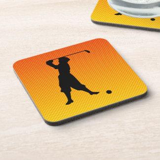 Yellow Orange Vintage Golfer Beverage Coaster