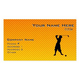 Yellow Orange Vintage Golfer Double-Sided Standard Business Cards (Pack Of 100)