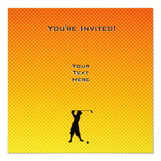 Yellow Orange Vintage Golfer Custom Invitation