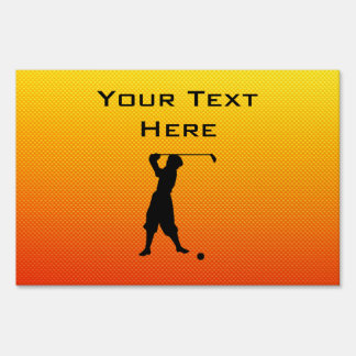 Yellow Orange Vintage Golfer Lawn Sign