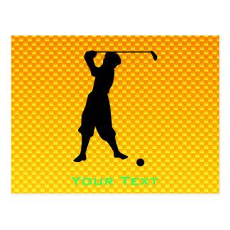 Yellow Orange Vintage Golfer Post Cards