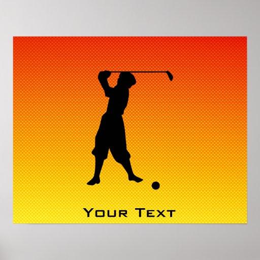 Yellow Orange Vintage Golfer Poster
