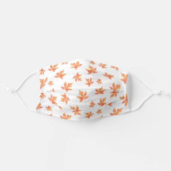 Yellow Orange Watercolor Maple Leaf Pattern Cloth Face Mask