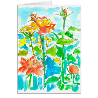 Yellow Orange Watercolor Roses Thank You Card