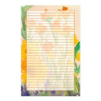 Yellow Orange Watercolor Sunflower Bouquet Lined Stationery