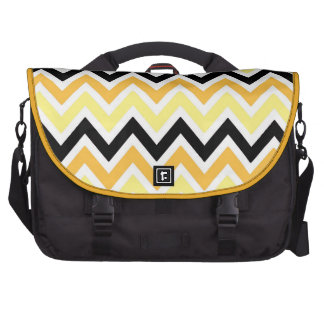 Yellow,Orange,White and Black Zigzags Commuter Bag