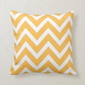 Yellow Orange White Chevron Zigzag Stripes Pillow