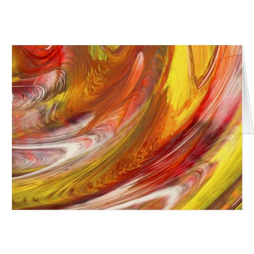 Yellow orange white smear abstract swirl greeting cards