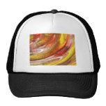 Yellow orange white smear abstract swirl trucker hat