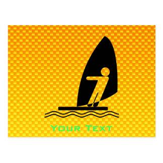 Yellow Orange Windsurfing Postcard