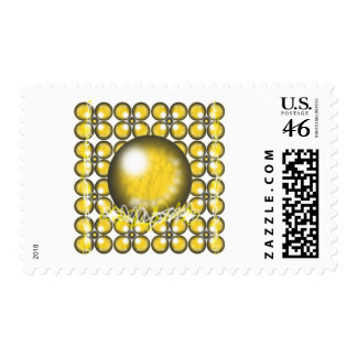 Yellow Orbs Postage Stamp