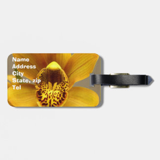 Yellow Orchid flower luggage tag