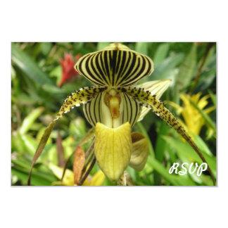 Yellow Orchid Flower RSVP Invitation