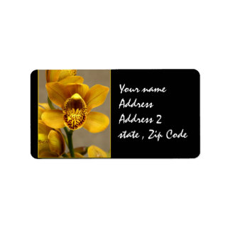 Yellow Orchid Flowers Label