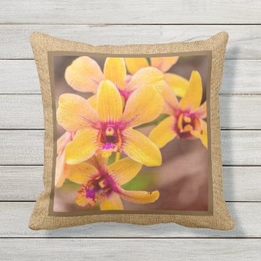 Beach Themed Yellow Orchid Hawaiian Tropical Reversible Outdoor Outdoor Pillow