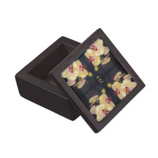 Yellow Orchid Pattern Jewelry Box