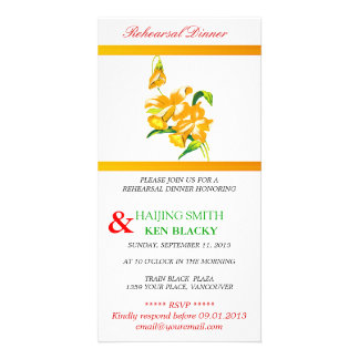 Yellow Orchid Rehearsal Dinner Invitation